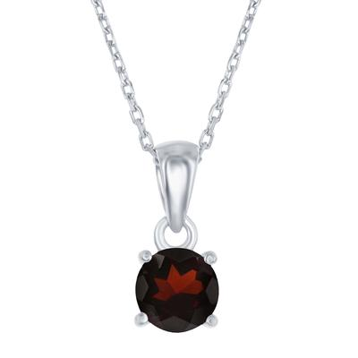 Sterling Silver & Garnet January Birthstone Necklace