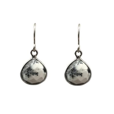 Jo Lupton Sterling Silver Dendritic Agate Drop Earrings