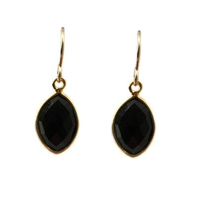 Jo Lupton Golden Black Onyx Petal Earrings