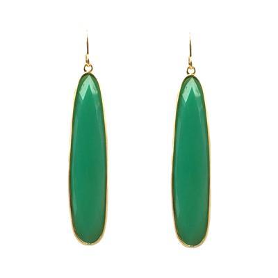 Jo Lupton Golden Chrysoprase Extra Long Drop Earrings