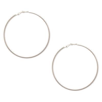 Large Silver Metal Hoops
