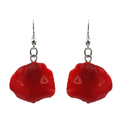 Red Rose Petal Earrings