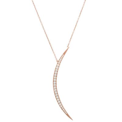 Rose Gold & Cz Large Crescent Moon Necklace