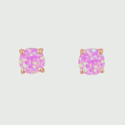 6mm Prong Set Pink Opal & Rose Gold Studs