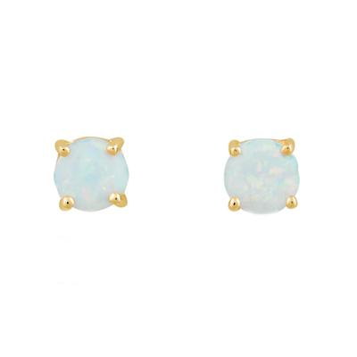 6mm Prong Set White Opal & Gold Studs