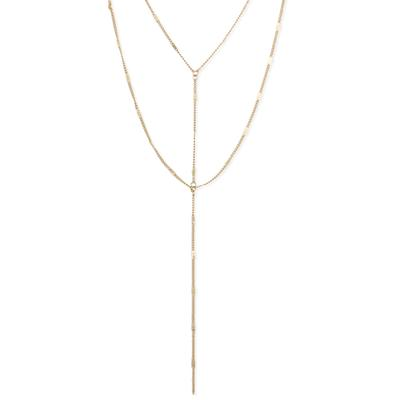 Golden Metal Chain Layering Y- Necklace