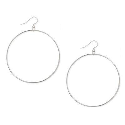 Silver Metal Extra Large Circle Earrings