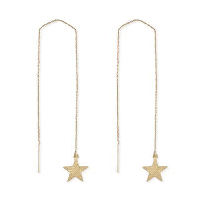 Golden Metal Shining Star Threader Earrings