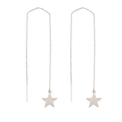 Silver Metal Shining Star Threader Earrings