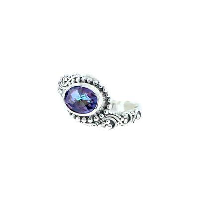 Sarda Sterling Silver & Oval Purple Mystic Quartz Ring