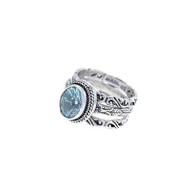 Sarda Sterling Silver & Swiss Blue Topaz Stacking Ring