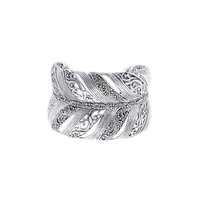 Sarda Sterling Silver Large Feather Cuff Bracelet