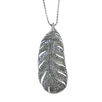 Sarda Sterling Silver Large Feather Necklace