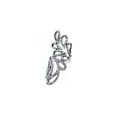 Sarda Sterling Silver Filigree Leaf Twist Ring