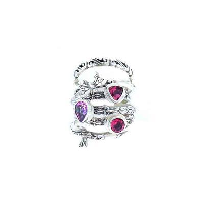 Sarda Sterling Silver & Mystic Topaz Stacking Ring