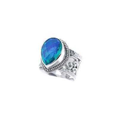 Sarda Sterling Silver & Large Caribbean Quartz Ring