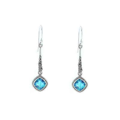 Sarda Sterling Silver & Caribbean Quartz Drop Earrings