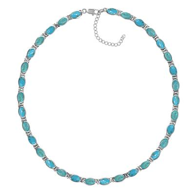 Boma Blue Turquoise Inlay Collar Necklace