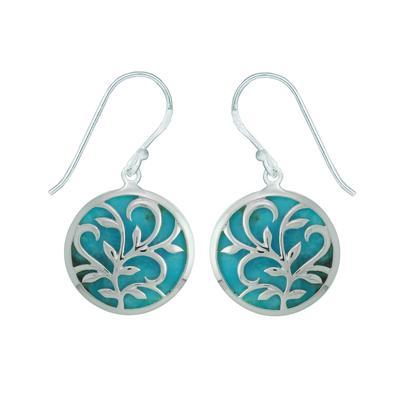Boma Turquoise Leaf & Vine Filigree Circle Earrings