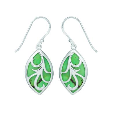 Boma Green Turquoise Vine Filigree Drop Earrings