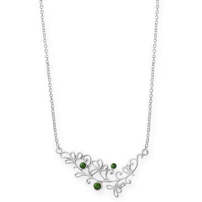 Boma Sterling Silver & Green Turquoise Floral Curve Necklace