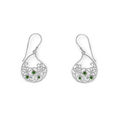 Boma Sterling Silver & Green Turquoise Floral Filigree Earrings