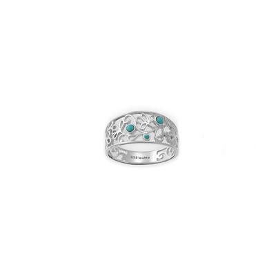 Boma Sterling Silver & Turquoise Filigree Band Ring