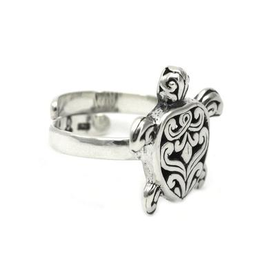 Indiri Sterling Silver Filigree Turtle Adjustable Ring