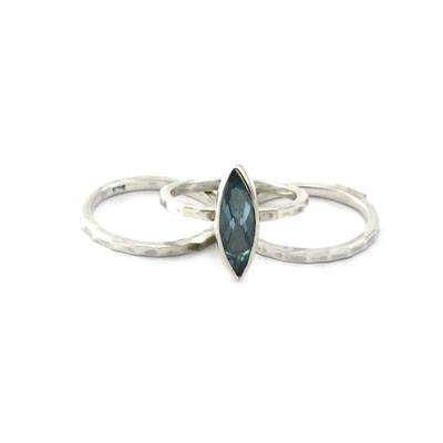 Indiri Sterling Silver & Sky Blue Topaz Stacking Ring