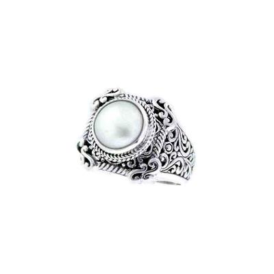 Sarda Sterling Silver & Cultured White Mabe Pearl Signet Ring