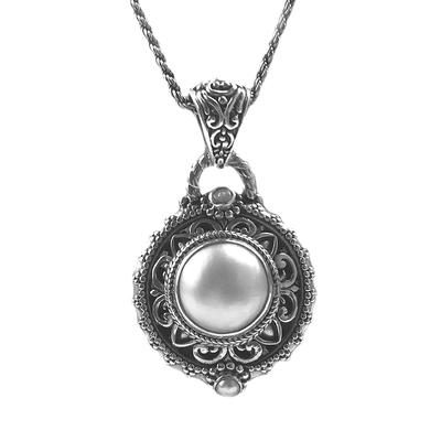 Sarda Sterling Silver & Cultured Mabe Pearl Balinese Medallion Necklace