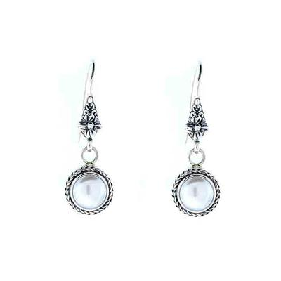 Sarda Sterling Silver & Cultured Pearl Flower Earrings
