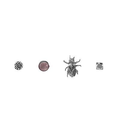 Mimi & Marge Dots- Rose Quartz- Bee- Rock Stud Set