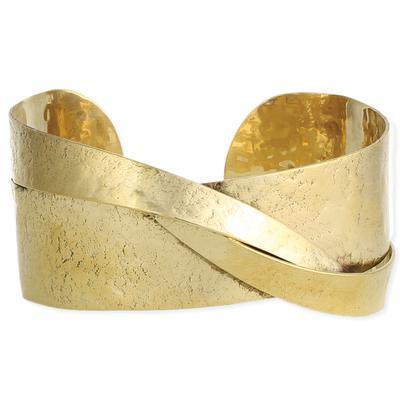 Golden Metal Sculptural Cuff Bracelet