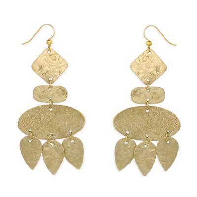 Hammered Golden Metal Geometric Chandelier Earrings