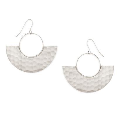 Silver Metal Modern Geometric Earrings