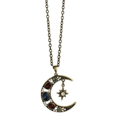 Golden Metal Jeweled Moon & Star Necklace