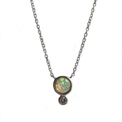 Round White Opal & Cz Necklace