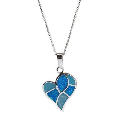 Blue Opal & Larimar Mosaic Heart Necklace