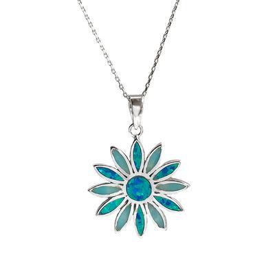 Blue Opal & Larimar Daisy Necklace