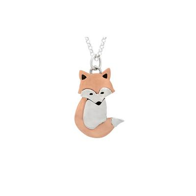 Far Fetched Sterling Silver & Copper Fox Necklace