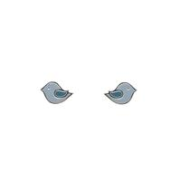 Boma Sterling Silver & Enamel Little Blue Bird Studs