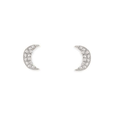 Silver Metal Crystal Crescent Moon Studs