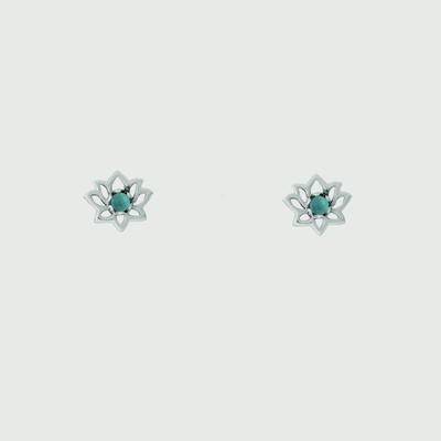 Boma Sterling Silver & Turquoise Lotus Studs