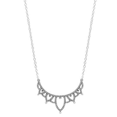 Boma Sterling Silver Oxidized Lotus Petal Curve Necklace