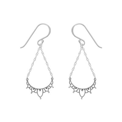 Boma Sterling Silver Oxidized Lotus Petal Curve Earrings