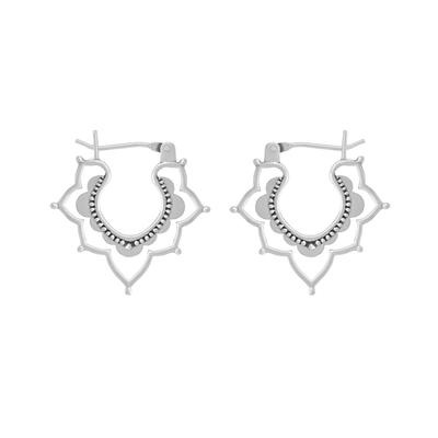 Boma Sterling Silver Balinese Floral Curve Hoops