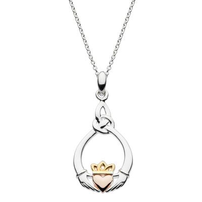Kit Heath Sterling Silver, Gold & Rose Gold Claddagh Necklace