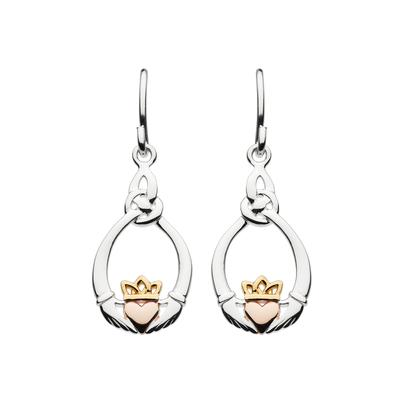 Kit Heath Sterling Silver, Gold & Rose Gold Claddagh Earrings