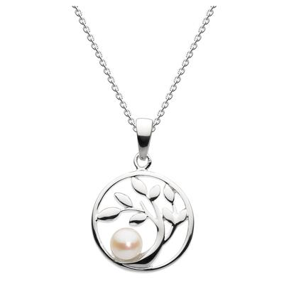 Kit Heath Sterling Silver Circled Tree With Pearl Necklace